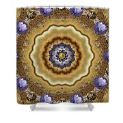 Abstract Pond In Gold Shower Curtain