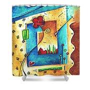 Abstract Pop Art Landscape Floral Original Painting Joyful World By Madart Shower Curtain