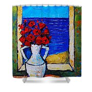 Abstract Poppies By The Sea Shower Curtain