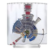 Abstract Construction Power Plant Shower Curtain