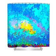 Abstract Rainbow And Clouds Shower Curtain
