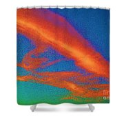 Abstract Red Blue And Green Sky Shower Curtain