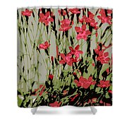 Abstract Red Flowers Shower Curtain