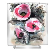 Abstract Red Poppies Shower Curtain