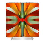 Abstract Red Tree Symmetry Shower Curtain by Amy Vangsgard