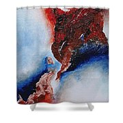 Abstract Rendezvous Shower Curtain by Draia Coralia