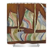 Abstract Sailboat Shower Curtain