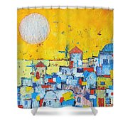 Abstract Santorini - Oia Before Sunset Shower Curtain by Ana Maria Edulescu