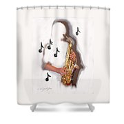Abstract Saxophone Player Shower Curtain