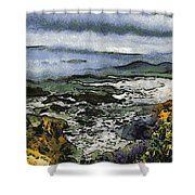 Abstract Seascape Morro Bay California Shower Curtain