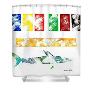 Abstract Shark Shower Curtain