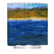 Abstract Shoreline Shower Curtain