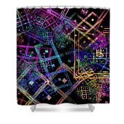 Abstract Squares Pattern Fractal Flame Shower Curtain by Keith Webber Jr