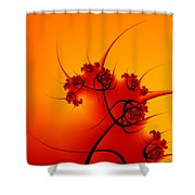 Abstract Sunset Fractal Shower Curtain