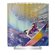 Abstract Surf Shower Curtain