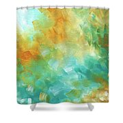 Abstract Textured Decorative Art Original Painting Gold And Teal By Madart Shower Curtain
