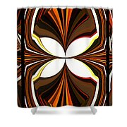 Abstract Triptych - Brown - Orange Shower Curtain