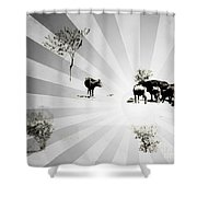 Abstract Vintage Cows Shower Curtain