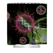 Abstract Virus Budding 2 Shower Curtain