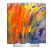 Abstract Watercolor Painting With Fire Flames Shower Curtain