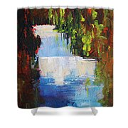 Abstract Waterfall Painting Shower Curtain