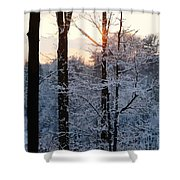 Abstract Winter Sunset Shower Curtain