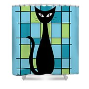 Abstract With Cat In Blue Shower Curtain