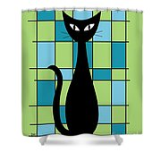 Abstract With Cat In Green Shower Curtain