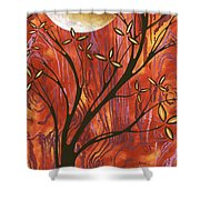 Abstract Wood Pattern Painting Original Landscape Art Moon Tree By Megan Duncanson Shower Curtain
