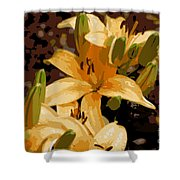 Abstract Yellow Asiatic Lily - 2 Shower Curtain