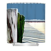 Abstracted Beach Dune Fence Shower Curtain