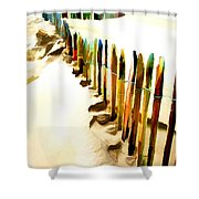 Abstracted March Of The Colored Dune Fence Shower Curtain