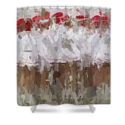 Abstracted White Shower Curtain