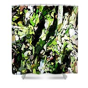 Abstraction Green And White Shower Curtain