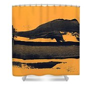 Abstracto Black Yellow Shower Curtain