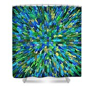 Abstrract Cubes Blue Shower Curtain
