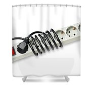 Ac Power Plug And Sockets Shower Curtain