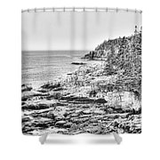 Acadia National Park In Bw Shower Curtain