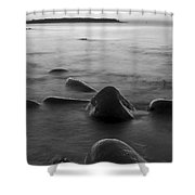 Acadia National Park Shoreline Sunrise Wakeup Black And White Shower Curtain