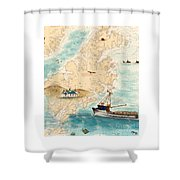 Accomplice Kodiak Crab Fishing Boat Cathy Peek Nautical Chart Map  Shower Curtain