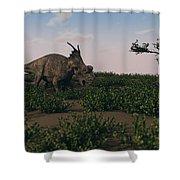 Achelousaurus Walking Amongst Swamp Shower Curtain