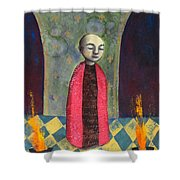 Acolyte With Fire Pots Shower Curtain