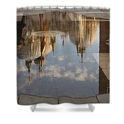 Acqua Alta Or High Water Reflects St Mark's Cathedral In Venice Shower Curtain