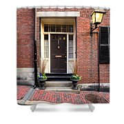 Acorn Street Door And Lamp Shower Curtain