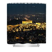 Acropolis At Night Shower Curtain