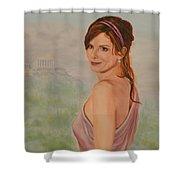 Acropolis  Misty Evening  Shower Curtain