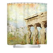 Acropolis Of Athens Shower Curtain by Catf