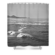 Across The Bay Bw Shower Curtain