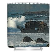 Action On The Rocks Shower Curtain