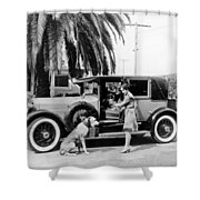 Actress And Dogs Go On Trip Shower Curtain